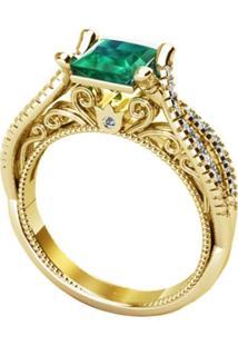 Anel Majestosa Cristal Esmeralda Solitário Banhado A Ouro 18K