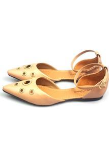 Sapatilha Love Shoes Bico Fino Aberta Salomé Ilhós Strass Bege