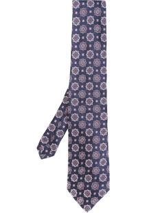 Etro Gravata Estampada De Seda - Azul