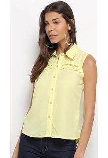 Regata Camisa Heli Guipir Feminina - Feminino-Amarelo