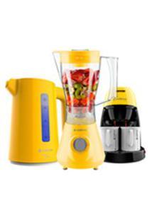 Kit Cadence Colors Amarelo - Liquidificador - Cafeteira - Chaleira - 127V