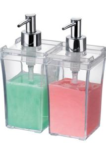 Porta Shampoo E Condicionador Duplo Para Bancada Em Plástico Arthi Duo 1177