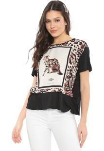 Camiseta Triton Estampada Off-White/Preta