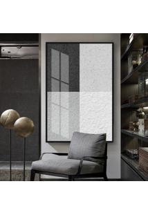 Quadro 150X100Cm Abstrato Taranis Vidro Cristal E Moldura Preta Decorativo Interiores - Oppen House