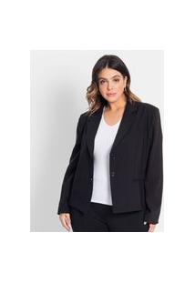Blazer Alfaiataria Feminino Plus Size Secret Glam Preto