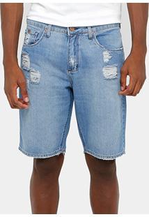 Bermuda Jeans Calvin Klein Stone Destroyed Reta Masculina - Masculino