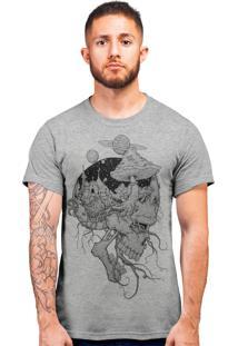 Camiseta Acid Trip Caveira Cinza