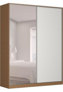 Guarda-Roupa Solteiro Com Espelho Tunas V 2 Pt 3 Gv Marrom E Branco
