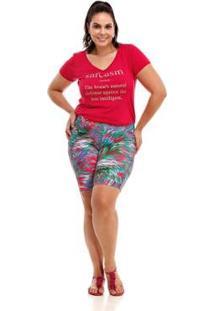 Bermuda Melinde Plus Size Lycra Print Feminina - Feminino-Verde