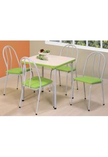 Conjunto De Mesa Com 4 Cadeiras Zuka Branco E Verde