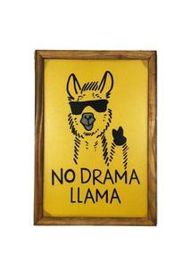 Quadro Decorativa Quarto Sala No Drama Lhama 20X30Cm Amarelo