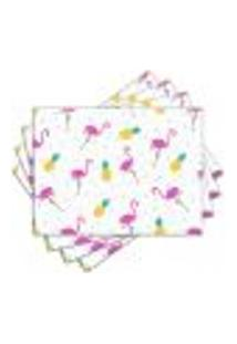 Jogo Americano - Flamingos E Abacaxis Com 4 Peças - 1007Jo