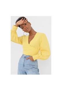 Blusa Cropped Colcci Transpassada Amarela