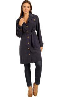 Casaco Trench Coat, Com Bolsos E Faixa - Moderno E Atemporal Marinho - Multicolorido - Feminino - Dafiti