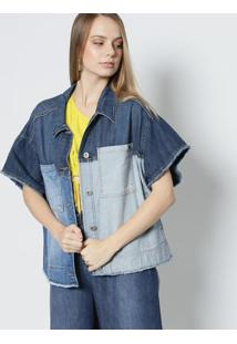 Jaqueta Jeans Com Bolsos- Azul- Colccicolcci