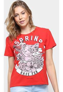 """Camiseta Coca-Cola """"Gatinho"""" - Feminino-Vermelho"""