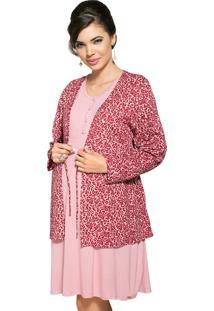 Camisola Com Casaqueto Vincullus Gestante Rosa