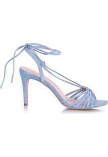 Luiza Barcelos Sandália Tiras Transpassadas Em Camurça - Azul