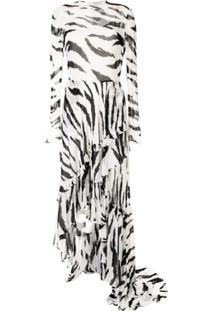 Philosophy Di Lorenzo Serafini Vestido Com Estampa De Zebra - Branco