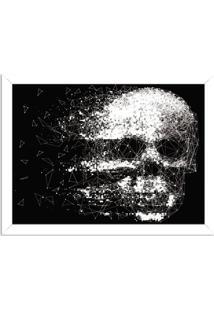 Quadro Decorativo Black Skull Faded Branco - Grande