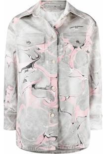 Stella Mccartney Marble-Print Denim Jacket - Cinza