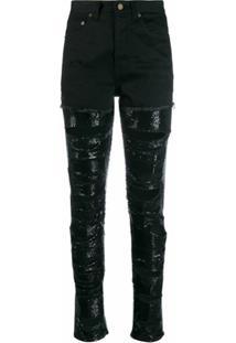 Saint Laurent Calça Jeans Com Aplicações De Paetês - Preto