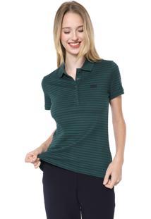 Camisa Polo Lacoste Slim Listrada Verde