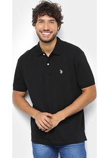 Camisa Polo U.S. Polo Assn Básica Lisa Masculina - Masculino-Preto