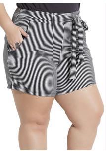 Shorts Listrado Com Bolsos Plus Size Marguerite