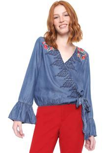 Blusa Jeans Desigual Kim Azul - Azul - Feminino - Liocel - Dafiti