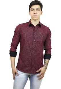 Camisa Slim Victor Deniro Vermelho Floral