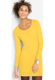 Vestido Em Camisa Com Manga Longa Amarelo