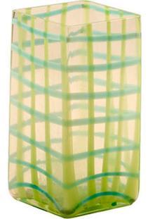 Vaso De Vidro Decorativo Ligth Green Check Médio