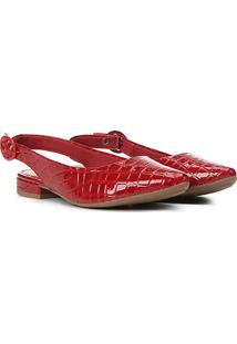 Sapatilha Mississipi Chanel Croco Verniz Feminina - Feminino-Vermelho