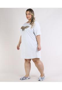 Camisola Feminina Plus Size Mulher Maravilha Manga Curta Cinza Mescla Claro