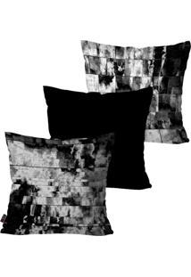 Kit Com 3 Capas Para Almofadas Decorativas Preto Black And White 45X45Cm