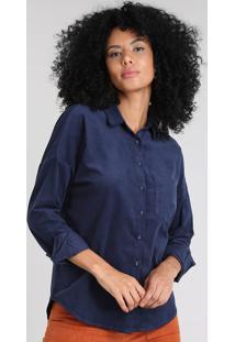 Camisa Feminina Em Veludo Cotelê Com Bolso Manga Longa Azul Marinho