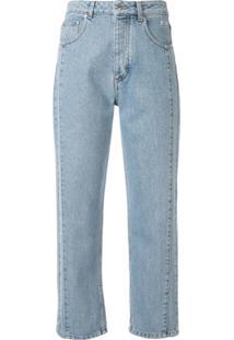 Msgm Calça Jeans Cropped Com Pesponto Contrastante - Azul