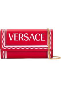 Versace Carteira 90S Vintage De Couro Com Logo - Vermelho