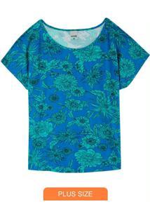 Blusa Estampada Floral Em Viscose Plus