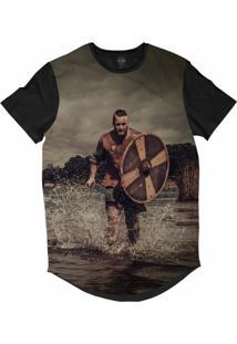 Camiseta Longline Insane 10 Cultura Viking Guerreiro Correndo Sublimada Marrom