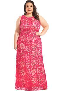 Vestido Longo Plus Size Renda Guipir Rosa