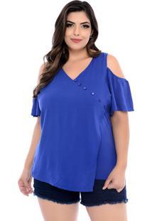 Blusa Arimath Plus Plus Size Azul Royal Assimétrica-54