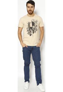 "Camiseta ""Caveira""- Bege & Preta- Tritontriton"