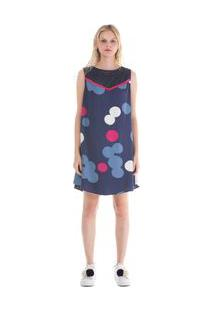 Vestido Curto Decote Redondo Detalhe Tricot Azul M