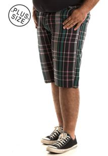 Bermuda Konciny Xadrez Plus Size Verde