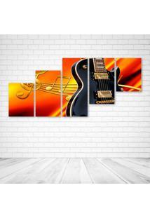 Quadro Decorativo - Black Guitar (2) - Composto De 5 Quadros - Multicolorido - Dafiti