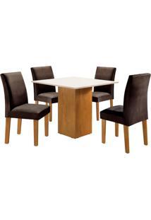 Conjunto De Mesa De Jantar Dakota Com 4 Cadeiras Classic L Suede Off White E Marrom