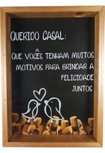 Quadro Porta Rolhas De Vinho Querido Casal 35X25Cm Moldura Em Madeira – Art Frame