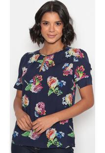 Blusa Floral Com Recortes & Fendas-Azul Marinho & Rosa